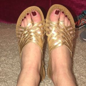 brown suede and gold leather sandals
